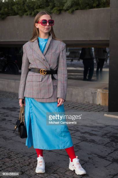 Andrea Werngren seen with a jacket from Zara with a Gucci bag and Reebok sneakers during the first day of Stockholm Fashion Week outside of the Grand...