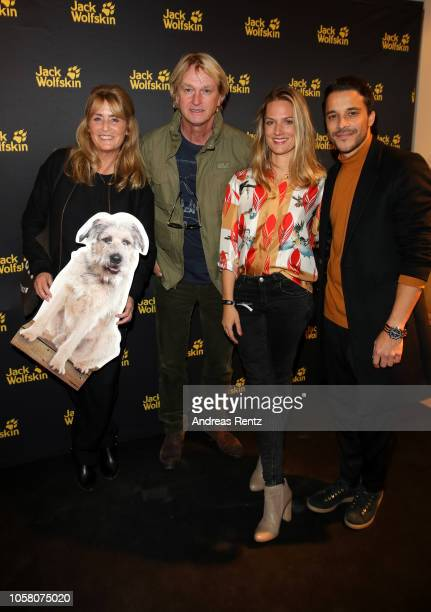 Andrea Willson Detlev Buck Marie Burchard and Kostja Ullmann attend the meet and greet at Jack Wolfskin flagship store prior to the movie premiere of...