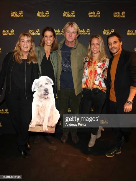 Andrea Willson Kerstin Pooth Detlev Buck Marie Burchard and Kostja Ullmann attend the meet and greet at Jack Wolfskin flagship store prior to the...