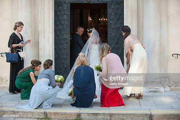 Andrea Wolf arrives for her wedding to Juan Zorreguieta at palais Liechtenstein on June 7, 2014 in Vienna, Austria.