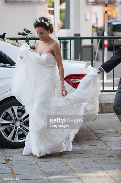 Andrea Wolf arrives for her wedding to Juan Zorreguieta at palais Liechtenstein on June 7 2014 in Vienna Austria