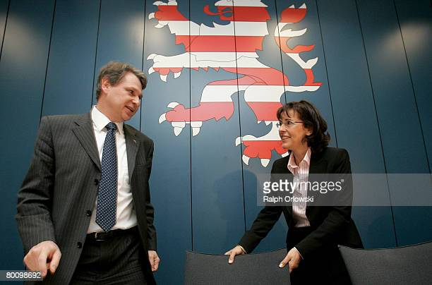 Andrea Ypsilanti Chairwoman of the German Social Democrats in the German state of Hesse and general secretary Norbert Schmitt arrive for a meeting of...