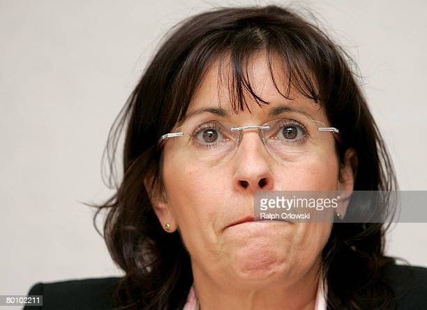 Andrea Ypsilanti Chairwoman of the German Social Democrats in the German state of Hesse speaks during a news conference on March 4 2008 in Wiesbaden...