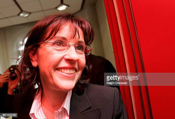 Andrea Ypsilanti Chairwoman of the German Social Democrats in the German state of Hesse leaves a news conference on March 4 2008 in Wiesbaden Germany...