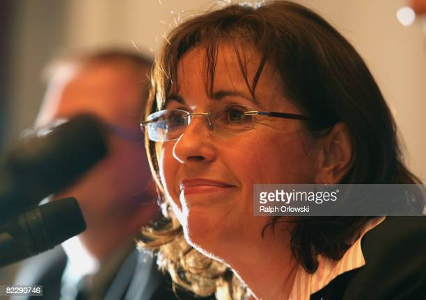Andrea Ypsilanti chairwoman of the Social Democratic Party of the Geman state of Hesse smiles during a news conference after a party board meeting on...