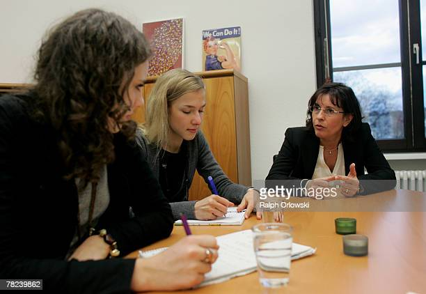 Andrea Ypsilanti German Social Democrats gubernatorial candidate in the German state of Hesse answer2s the questions of the pupils Cordelia Marsch...