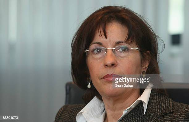 Andrea Ypsilanti head of the German Social Democrats in the German state of Hesse arrives for a meeting of the SPD leadership on November 24 2008 in...