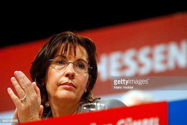 Andrea Ypsilanti head of the German Social Democrats in the German state of Hesse looks on during a SPD extraordinary congress on December 13 2008 in...