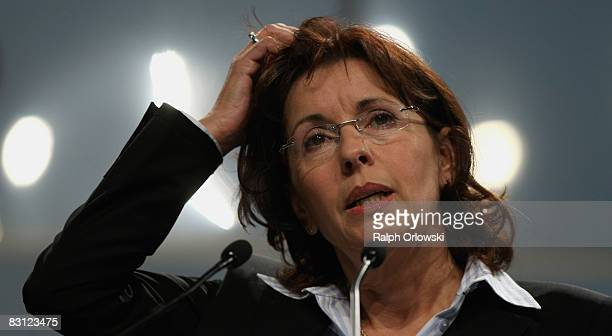 Andrea Ypsilanti head of the Social Democratic Party in the German state of Hesse speaks during an extraordinary party convention on October 4 2008...