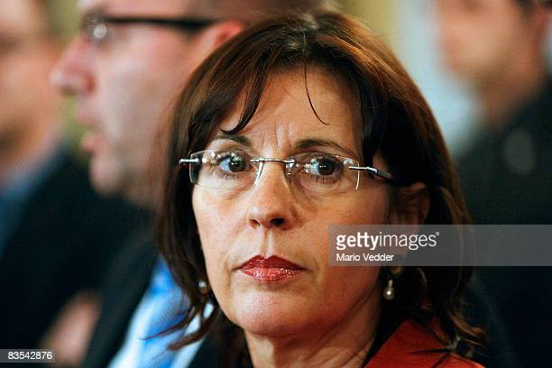 Andrea Ypsilanti head of the Social Democrats of the state of Hesse looks on during a news conference on November 3 2008 in Wiesbaden Germany Dagmar...