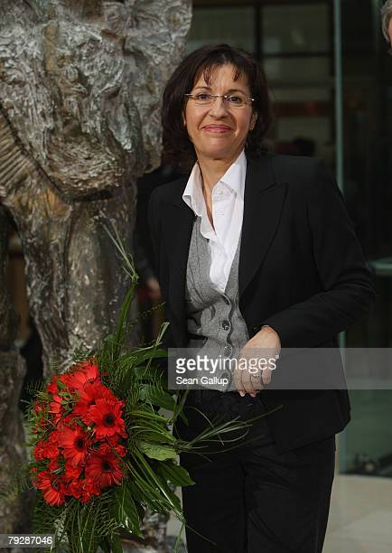 Andrea Ypsilanti lead candidatefor the German Social Democarts in yesterday's elections in the German state of Hesse smiles as she departs after a...