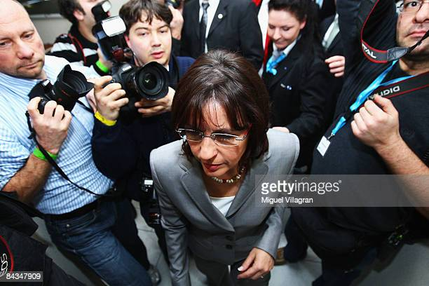 Andrea Ypsilanti of the Social Democratic Party leaves the room after delivering her speech to her party members during the parliamentary elections...