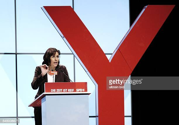 Andrea Ypsilanti politician SPD Germany chairperson of the parliamentary group of the SPD at the hessian parliament during a speech at the hessian...