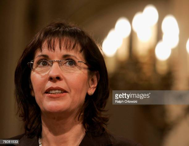 Andrea Ypsilanti top candidate of the Social Democratic Party attends a television debate during the parliamentary elections at the Landtag January...