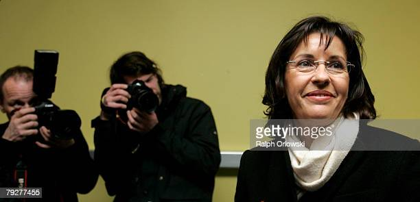 Andrea Ypsilanti top candidate of the Social Democratic Party addresses to the media at the polling station at Erlenbach Schule on January 27 2008...