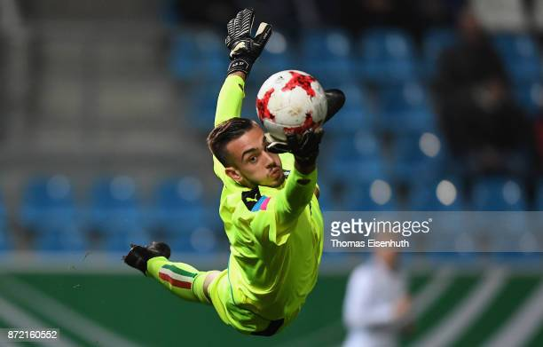 Andrea Zaccagno of Italy saves the ball during the Under 20 International Friendly match between U20 of Germany and U20 of Italy at community4you...