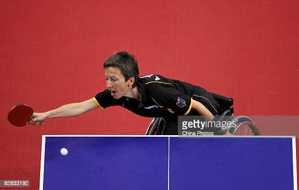 Andrea Zimmerer of Germany competes in the Women's Team Class 4/5 Table Tennis match between Andrea Zimmerer of Germany and Gu Gai of China at the...