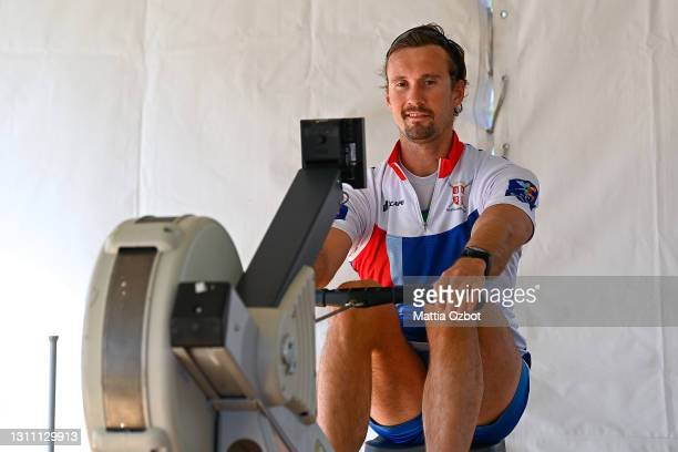Andrean Angelov of Bulgaria trains on the rowing machine during day two of the 2021 World Rowing European Olympic and Paralympic Qualification...