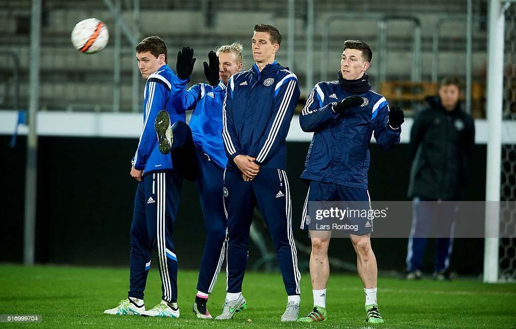 Andreas AC Christensen, Simon Kjar, Daniel Agger and Pierre Emile Hojbjerg in action during the Denmark training session at MCH Arena on March 22, 2016 in Herning, Denmark.