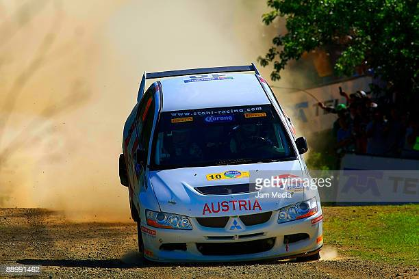 Andreas Aigner and Daniela Weissengruber of Austria in action during the third and last day of the Rally of Nations Mexico 2009 on July 12 2009 in...