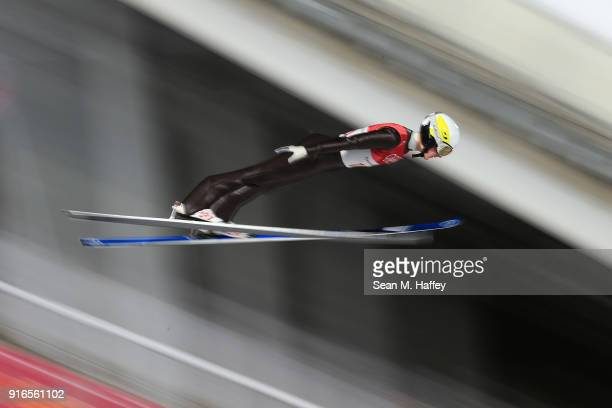 Andreas Alamommo of Finland makes a jump during the Ski Jumping Men's Normal Hill Individual Final on day one of the PyeongChang 2018 Winter Olympic...