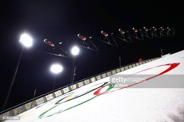 Andreas Alamommo of Finland makes a trial jump during the Ski Jumping Men's Large Hill Individual Qualification at Alpensia Ski Jumping Center on...
