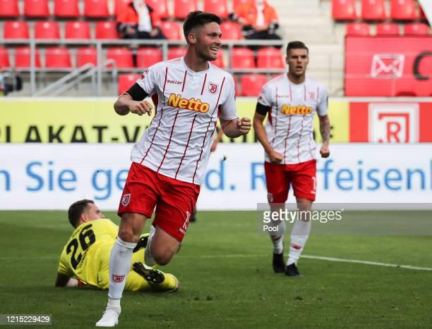 Andreas Albers of SSV Jahn Regensburg celebrates after scoring his team's first goal during the Second Bundesliga match between SSV Jahn Regensburg...