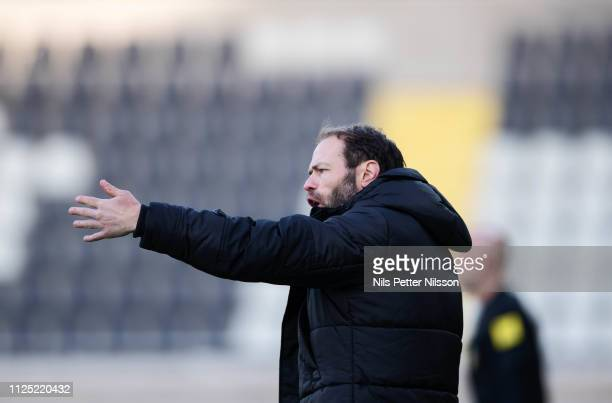 Andreas Alm head coach of BK Hacken during the Svenska Cupen group stage match between BK Hacken and IK Brage at Bravida Arena on February 16 2019 in...