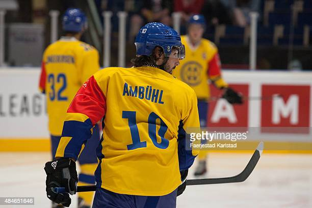 Andreas Ambuel during the Champions Hockey League group stage game between Farjestad Karlstad and HC Davos on August 20 2015 in Karlstad Sweden