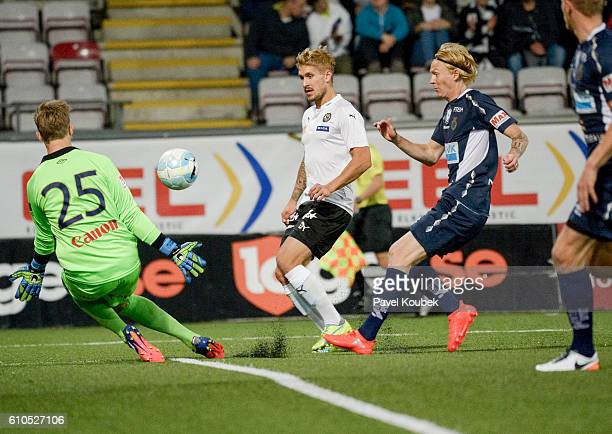 Andreas Andersson goalkeeper of Gefle IF makes a save when Daniel Bjornqvist of Orebro SK shoots during the allsvenskan match between Orebro SK and...