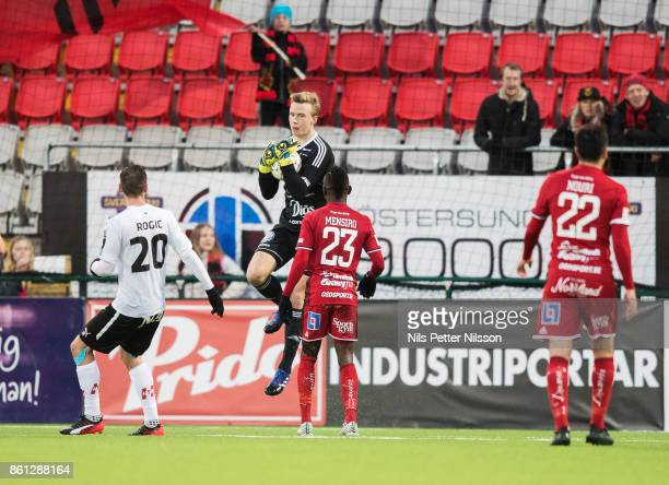 Andreas Andersson goalkeeper of Ostersunds FK makes a save during the Allsvenskan match between Ostersunds FK and Orebro SK at Jamtkraft Arena on...