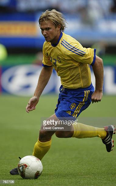 Andreas Andersson of Sweden runs with the ball during the FIFA World Cup Finals 2002 Group F match between Argentina and Sweden played at the Miyagi...