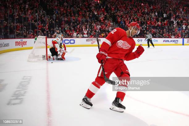 Andreas Athanasiou of the Detroit Red Wings celebrates a second period penalty shot goal in front of Mike Smith of the Calgary Flames at Little...