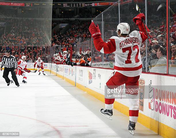 Andreas Athanasiou of the Detroit Red Wings celebrates his gametying third period goal against the Philadelphia Flyers on November 8 2016 at the...