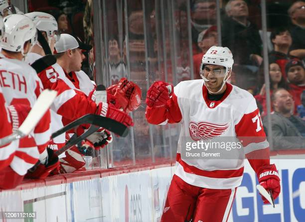Andreas Athanasiou of the Detroit Red Wings celebrates his second period goal against the New Jersey Devils at the Prudential Center on February 13...