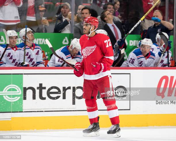 Andreas Athanasiou of the Detroit Red Wings celebrates his third period goal during an NHL game against the New York Rangers at Little Caesars Arena...
