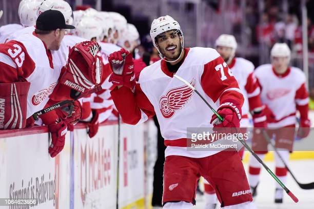 Andreas Athanasiou of the Detroit Red Wings celebrates with his teammates after scoring a goal in the first period against the Washington Capitals at...