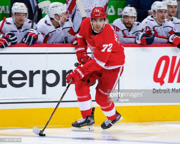 Andreas Athanasiou of the Detroit Red Wings controls the puck against the Washington Capitals during an NHL game at Little Caesars Arena on November...