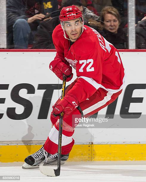 Andreas Athanasiou of the Detroit Red Wings controls the puck during an NHL game against the Los Angeles Kings at Joe Louis Arena on December 15 2016...