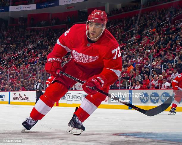 Andreas Athanasiou of the Detroit Red Wings follows the play against the Washington Capitals during an NHL game at Little Caesars Arena on January 6...