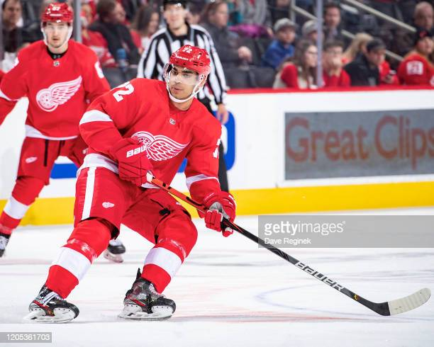 Andreas Athanasiou of the Detroit Red Wings follows the play against the Boston Bruins during an NHL game at Little Caesars Arena on February 9 2020...