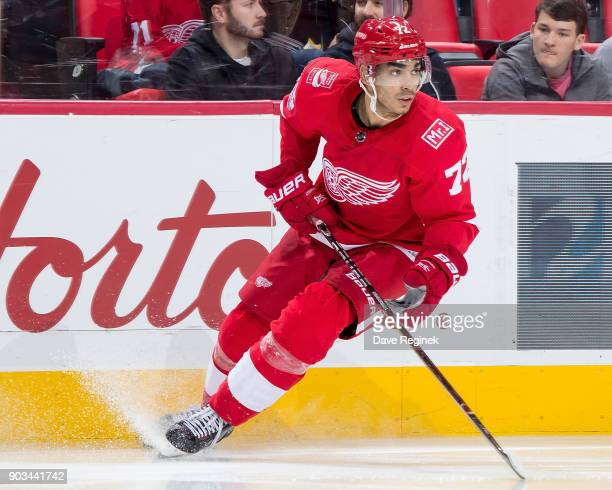 Andreas Athanasiou of the Detroit Red Wings follows the play against the Tampa Bay Lightning during an NHL game at Little Caesars Arena on January 7...