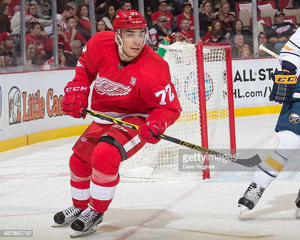 Andreas Athanasiou of the Detroit Red Wings follows the play during an NHL game against the Buffalo Sabres at Joe Louis Arena on December 27 2016 in...