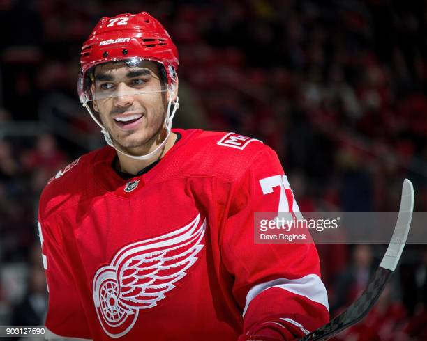 Andreas Athanasiou of the Detroit Red Wings looks down the ice against the Florida Panthers during an NHL game at Little Caesars Arena on January 5...