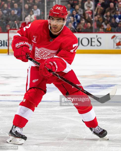 Andreas Athanasiou of the Detroit Red Wings shoots the puck against the Toronto Maple Leafs during an NHL game at Little Caesars Arena on February 1...