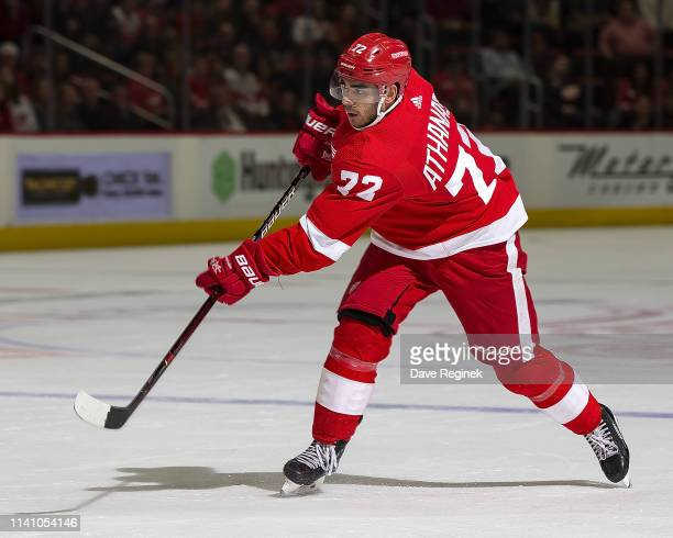 Andreas Athanasiou of the Detroit Red Wings shoots the puck against the Buffalo Sabres during an NHL game at Little Caesars Arena on April 6 2019 in...
