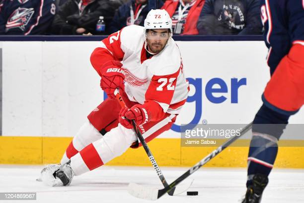 Andreas Athanasiou of the Detroit Red Wings skates against the Columbus Blue Jackets on February 7 2020 at Nationwide Arena in Columbus Ohio