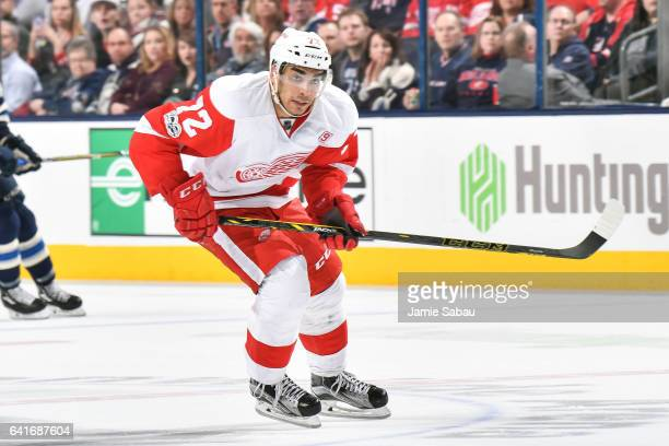 Andreas Athanasiou of the Detroit Red Wings skates against the Columbus Blue Jackets on February 11 2017 at Nationwide Arena in Columbus Ohio