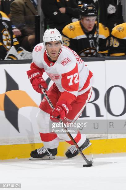 Andreas Athanasiou of the Detroit Red Wings skates against the Boston Bruins at the TD Garden on March 6 2018 in Boston Massachusetts
