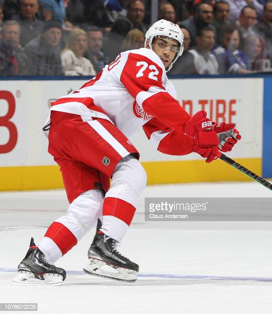 Andreas Athanasiou of the Detroit Red Wings skates against the Toronto Maple Leafs during an NHL game at Scotiabank Arena on December 6 2018 in...